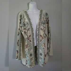 Soft Surroundings Embroidered open jacket sz M